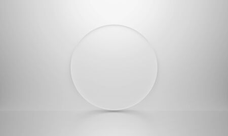 3D white isolated background texture. Art 3d rendering interior. Realistic blank round and reflection for mockup poster, banner and label on website. Abstract empty circle design.
