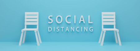Social distancing sign. Realistic 3d rendering design. 3d white chair on blue background with word social distance. Prevention Coronavirus disease (COVID-19) and healthcare. Minimal graphic. Standard-Bild