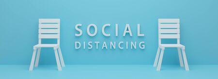 Zeichen der sozialen Distanzierung. Realistisches 3D-Rendering-Design. Weißer Stuhl 3d auf blauem Hintergrund mit sozialer Distanz des Wortes. Prävention der Coronavirus-Krankheit (COVID-19) und Gesundheitsversorgung. Minimale Grafik. Standard-Bild
