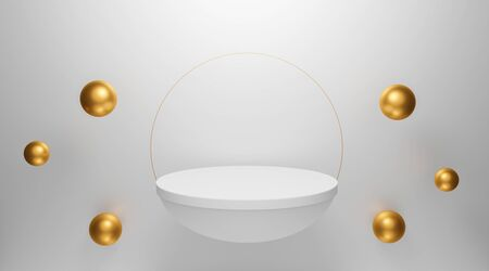 3d rendering design. 3d white podium abstract background with flying geometric shapes for banner, display on website. Half sphere mockup, golden ring and sphere metal ball. Minimal interior. Archivio Fotografico