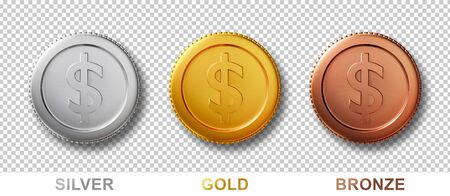 3d coins isolated on white background. Set of realistic money dollar coin in silver, bronze, gold metal. 3d render idea for mock up, investment, on website. bank cash sign symbol. Stockfoto