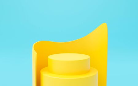 Abstract blue background geometric shape for presentation and exposition. 3D render of round stage podium pedestal for mock up store, display product, showcase. Minimal studio with yellow stand.