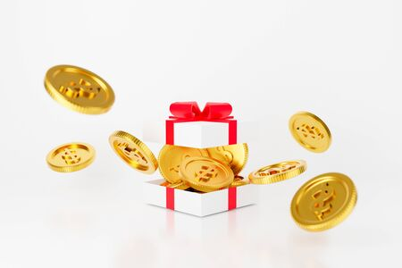 3d gift box money dollar coins with red bow. Surprise inside open gift box isolated on white background. 3d render for pecuniary profit and monetary concept. Christmas and new year's day.