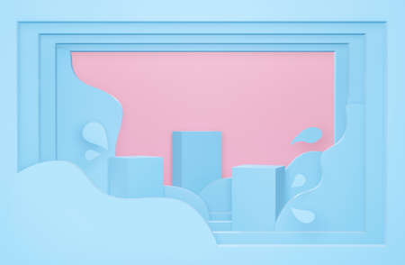 3d blue podium on pastel background abstract geometric shapes. Paper art of 3d render for showcase, presentation, display product mockup design. Origami creative ideas minimal summer water with wave.