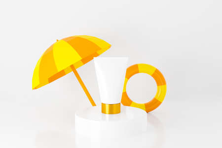 3d render of summer sunscreen cream face on podium stage. Blank cosmetic tube mockup isolated on white background with beach umbrella and swim ring. Beauty brand product for display stand, banner.