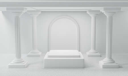 3d render of antique white column display podium pedestal or square stage for product, art museum. Blank classic roman pillars and exhibition stand on white background abstract scene.