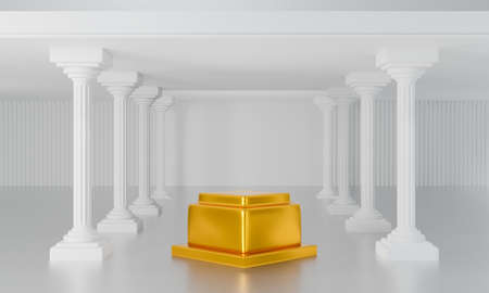 3d render of antique column display podium pedestal or gold stage for product, art museum. Blank classic roman pillars and exhibition stand on white background abstract scene. 스톡 콘텐츠