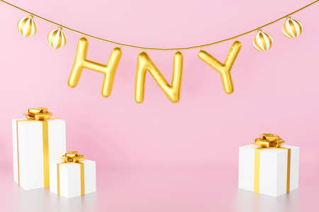 3d render of Christmas banner and horizontal Happy New Year balloon with gifts box for birthday, greeting card. Glossy gold glass round ball hanging on rope. Abstract party on pink pastel background.