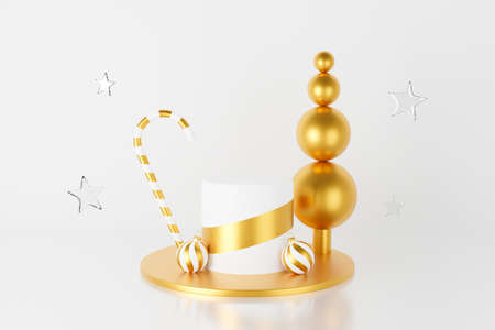 3d render of abstract gold Christmas display podium with baubles, candy cane and glass star. Modern Christmas and New Year on white background for winter holiday greeting card, banner, poster. 스톡 콘텐츠