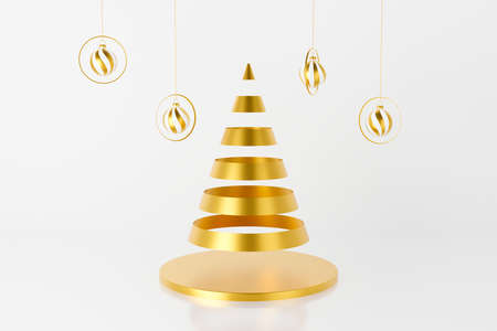 3d render of abstract gold Christmas tree and bauble hanging on ribbon. Modern Christmas and New Year on white background for winter holiday greeting card, banner, poster. 스톡 콘텐츠