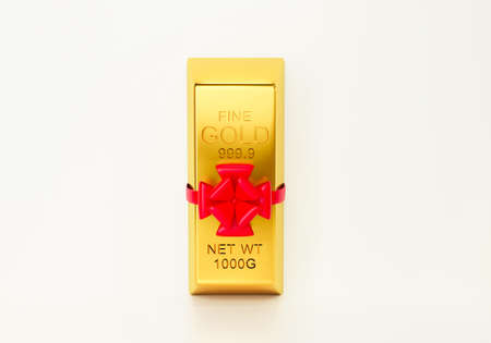 3d render of 999.9 pure gold bar with a red ribbon isolated on white background abstract. Business success, commodity trading, financial growth and abundance concept.