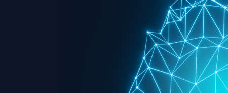 Abstract polygon background geometric line with connect dots and low poly. Blue 3d rendering block chain network. Futuristic technology business science communication.