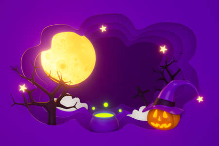 Happy Halloween pumpkin background abstract autumn with moon, star, witch pot and black dead tree. Full moon night in modern paper art. 3d rendering for horizontal banner template and poster.