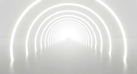 3d render of abstract white light tunnel background geometric in studio room. Futuristic interior architecture modern design. Perspective of new showroom corridor at the end. Technology science.