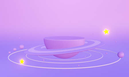 3D rendering of saturn planet in space. on pastel background abstract. Paper art of 3d purple display podium for advertising. Creative ideas minimal galaxy stars. Geometric concept.