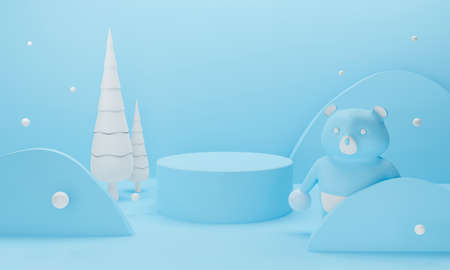 3d blue podium on pastel background abstract geometric shapes. winter snow white with bear and Christmas tree landscape scene. 3d rendering for showcase, display product mockup design. Happy New Year.