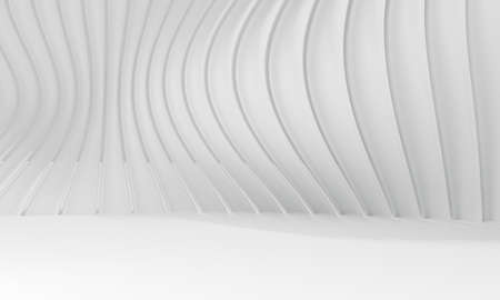 Abstract white background with waves lines. 3d rendering of building. Modern architecture interior design. Futuristic technology concept and minimal geometric shapes. 스톡 콘텐츠