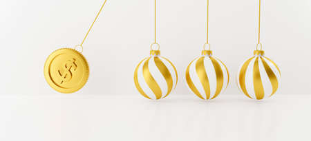 3D rendering for golden money saving on website. Happy new Year and Festive Christmas ball isolated on white background abstract. Newtons cradle balancing balls with 3d gold coin and Xmas bauble. 스톡 콘텐츠