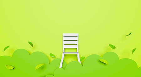 3d green garden and leaf falling with white chair on pastel color background for comfortable, environment nature. 3d rendering concept. Paper art or paper cut style and origami.