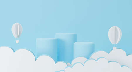 3d rendering of display podium on blue background abstract for mockup cosmetic. paper art of balloon and white clouds sky. Paper cut style and origami. Minimal round pedestal.