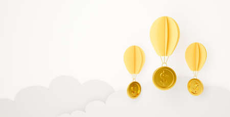 3d rendering for finance market, loan concept. Paper art of money dollar sign hanging balloon on clouds sky. Gold coins isolated on white background abstract. Creative idea design.