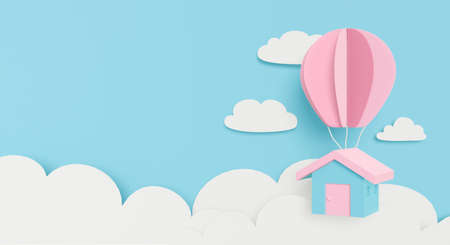 3d rendering for mortgage loan. Paper art or paper cut of pastel house hanging balloon on clouds sky. Dream home flying on blue background. Creative idea design and business concept. Cute cartoon art. 스톡 콘텐츠