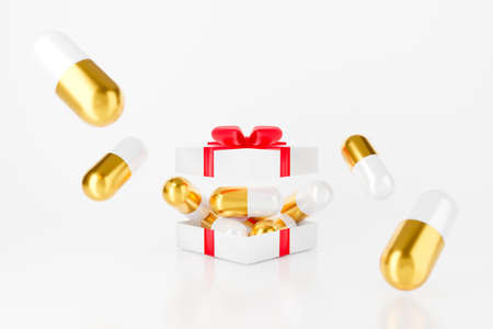 3d gift box with gold capsule pill and red bow. Surprise inside open gift box isolated on white background abstract. 3d rendering for health care and medical pharmacy. Vaccine Christmas.