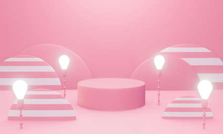 3d pink podium scene or pedestal on pastel background abstract geometric shapes in studio. 3d rendering for banner, display product mockup design. Minimal creative idea concept with light bulb.