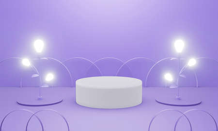 3d purple podium scene or pedestal on pastel background abstract geometric in studio. 3d rendering for banner, display product mockup design. Minimal creative idea concept with light bulb and fence. 스톡 콘텐츠