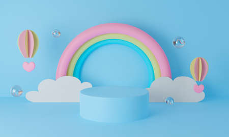 3d blue podium on pastel background abstract. 3d rendering for display product mockup design. Creative ideas minimal summer design. Sweet cute rainbow with clouds and paper art balloon. Cartoon. 스톡 콘텐츠