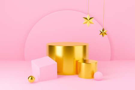 3d pink podium or pedestal for display product. Golden star Christmas and New Year on pastel background abstract. 3d rendering for winter holiday greeting card, banner, poster design.