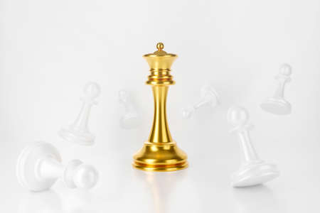 3d rendering of. Gold chess king win with white pawns on chess board background abstract. competition winner, success and strategic planning concept.  Creative ideas checkmate game.