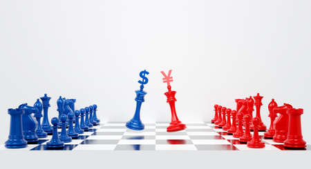 3d chess pieces. 3d rendering for USA and china trade war. US America against China tariffs conflict with dollar and yuan on chess board background abstract. Economic crisis concept. Фото со стока