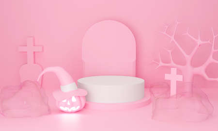 3d rendering of Happy Halloween abstract autumn pink podium stand. Cute pumpkin on pastel background for winter holiday greeting card, display product, mockup in studio. Minimal concept.