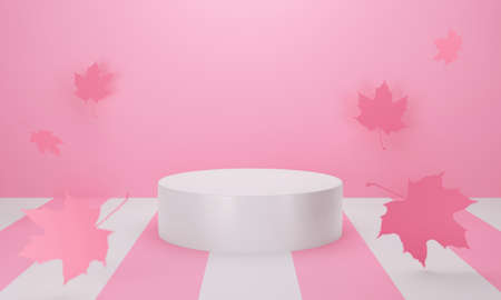 Abstract pastel color background with geometric. Blank product with maple leaves fall in autumn. 3d rendering of pink podium for mockup, ads and display product sale. Creative idea minimal scene. 스톡 콘텐츠