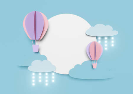 3d blue paper cut rain drops of on pastel background abstract for origami banner. Paper art balloon flying on air cloud sky scene. Creative ideas minimal summer landscape design. Cute cartoon art.