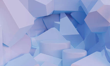 Abstract pastel color background with geometric. 3d rock stone wall texture with cracked. 3d rendering of blue podium stand for mockup, display product and advertisement. Creative idea minimal scene.