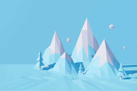 Abstract low poly mountain trees. 3d blue of polygon background landscape. 3d rendering Christmas and Happy New Year on pastel background for winter holiday greeting card, mockup.