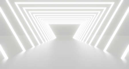 3d render of abstract white triangle light tunnel background geometric in studio room. Futuristic interior architecture modern. Perspective of new showroom corridor at the end. Technology science.