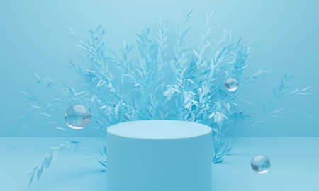 3d blue podium on pastel background abstract geometric shapes. 3d rendering for banner, showcase, presentation, display product mockup design. Creative ideas minimal summer water with leaf tree. Фото со стока