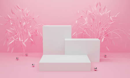 3d pink podium on pastel background abstract geometric shapes. 3d rendering for banner, pedestal table, display product mockup design. Creative ideas minimal summer with leaf tree nature.