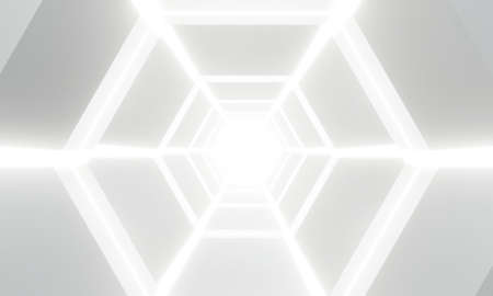 Futuristic interior architecture modern design. 3d render of hexagon abstract white light tunnel background geometric in studio room.  Technology science Sci-fi. Perspective of new corridor at the end