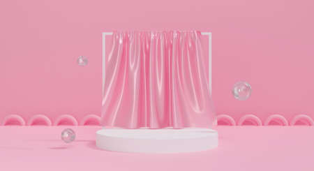 3d pink podium on pastel background with silk fabric. Abstract blank stage curtain. 3d rendering for cosmetic, mockup and display product. Creative idea minimal scene. Interior design. 스톡 콘텐츠