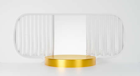 Abstract gold podium isolated on white background with silk fabric. Blank stage award or pedestal winner white curtain. 3d rendering for banner sale, cosmetic, mockup and product. Interior design. 스톡 콘텐츠