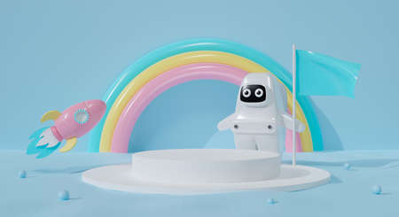 3d white podium on pastel blue background abstract. Rainbow with astronaut kid and rocket ship. 3d rendering for pedestal winner, product mockup design. Creative ideas minimal design. Spaceman cartoon Фото со стока