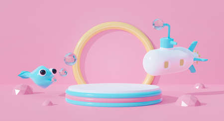 3d pink podium on pastel background abstract geometric shapes with boat ship. Creative ideas minimal summer water fish and submarine cartoon kid. 3d render for pedestal winner, product mockup design.