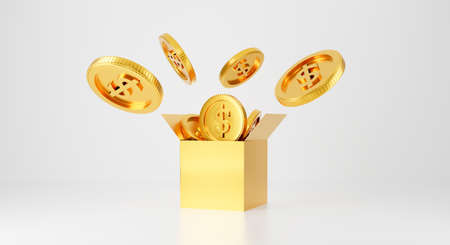 3d gold bank. 3d rendering for jackpot winner, casino poker and budget concept. Dollar cash money box symbol. Surprise inside open box isolated on white background abstract with golden coins. 스톡 콘텐츠