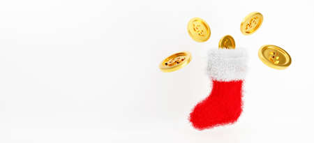 3d rendering for jackpot winner, casino poker and budget concept. Red Christmas sock isolated on white background abstract with golden coins. Stocking hanging on wall with gift box. Holiday winter.