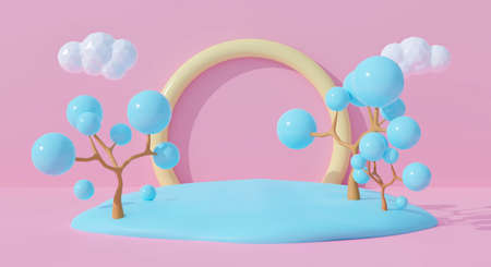 3d pink podium on pastel background abstract geometric shapes with cute rainbow. Creative ideas minimal summer cloud and tree cartoon kid. 3d render for pedestal winner, product mockup design.
