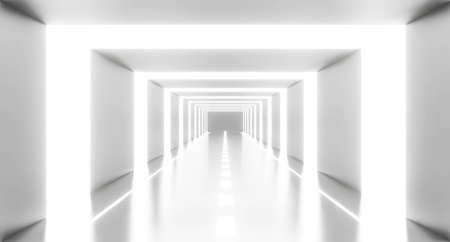 3d render of abstract white light tunnel background geometric in studio room. Futuristic interior architecture modern design. Perspective of new showroom corridor. Technology science concept.